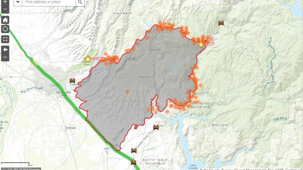Large Wildfire Map.Camp Fire Interactive Map Krcr